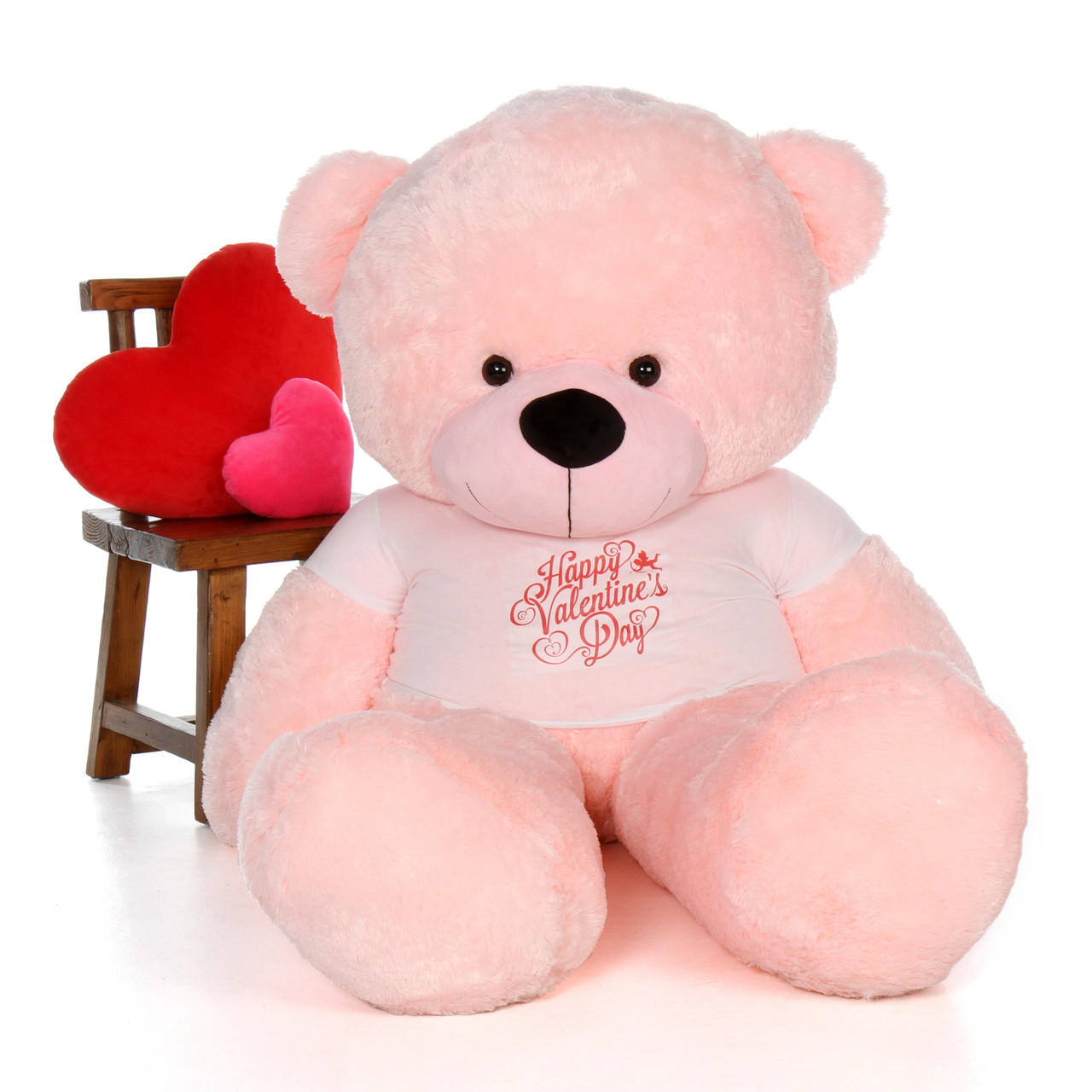 72in Lady Cuddles Pink Massive Teddy Bear in Happy Valentine's Day Shirt