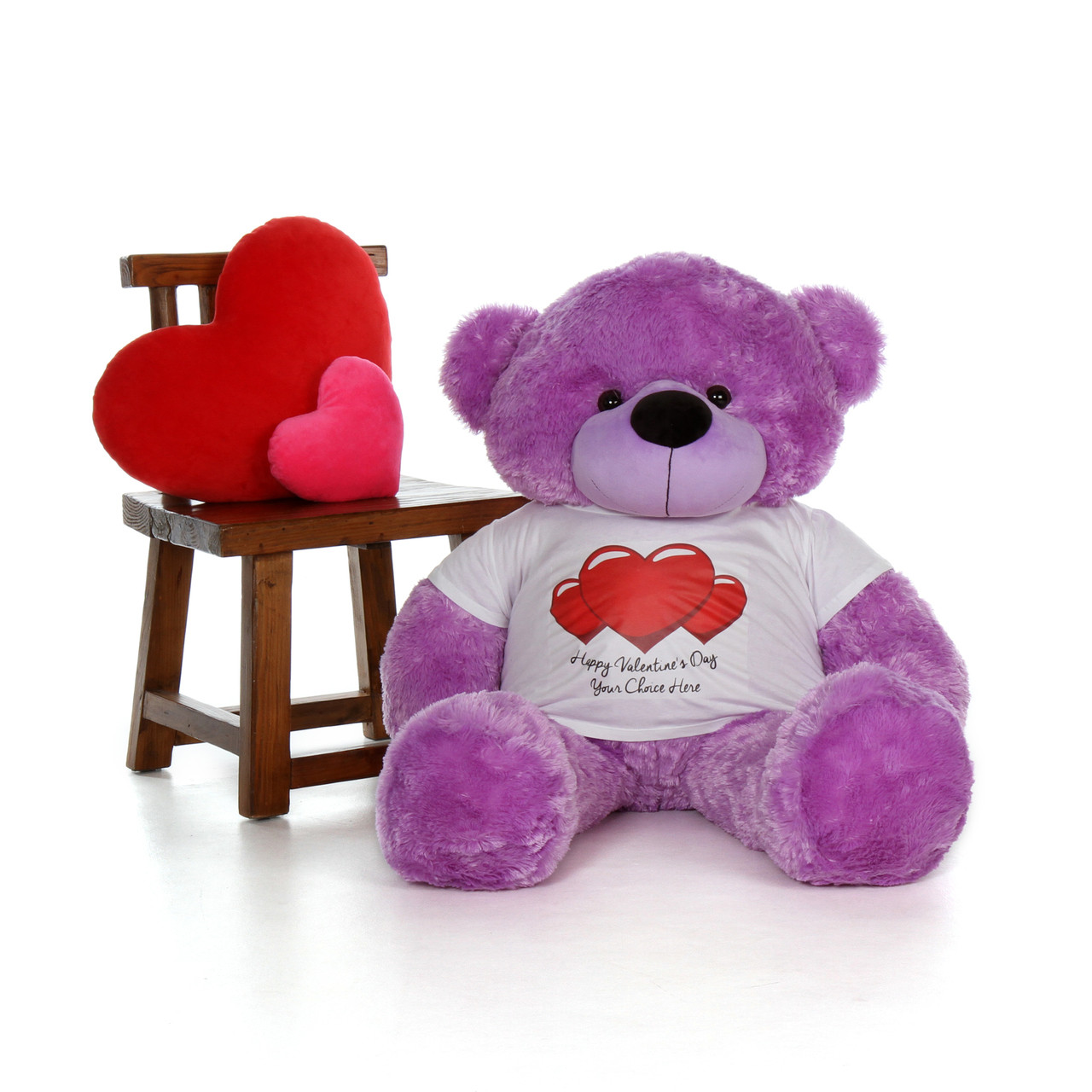 48in DeeDee Cuddles Purple Giant Teddy Bear in Red Heart Happy Valentine's Day T-Shirt (Choose your message)