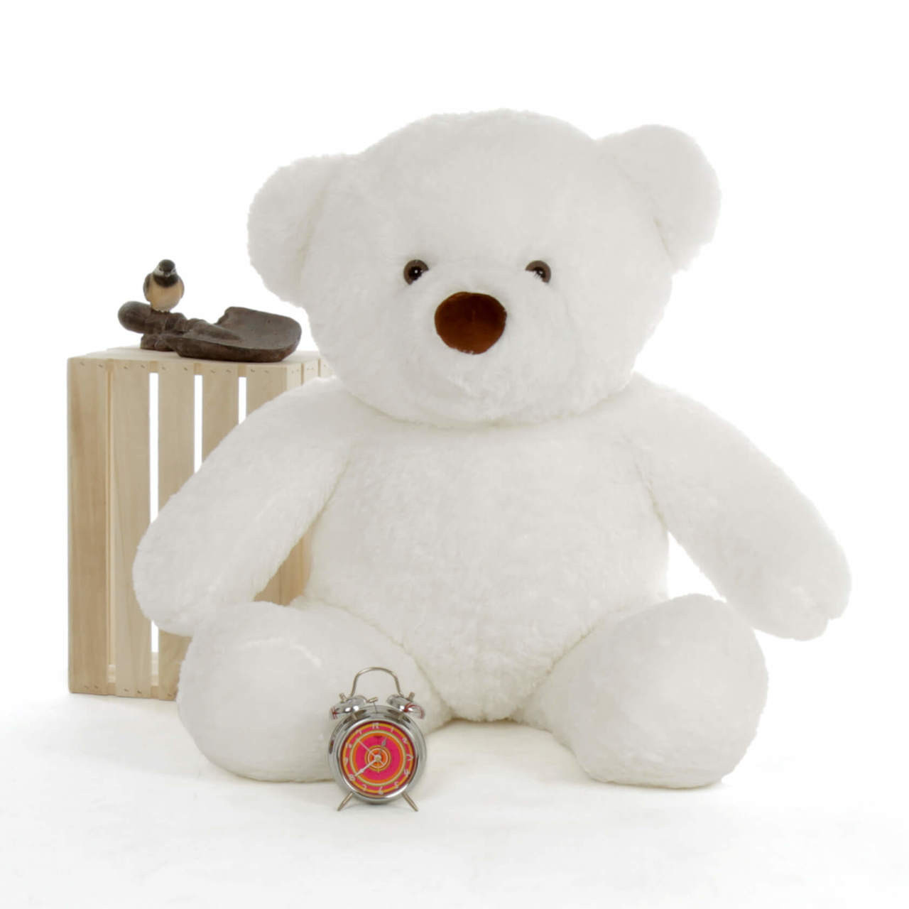 48in Huge White Bear by Giant Teddy (Clock and Props are NOT included)