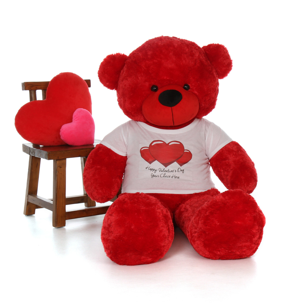 5ft Bitsy Cuddles Red Giant Teddy in Happy Valentine's Day Red Heart Shirt