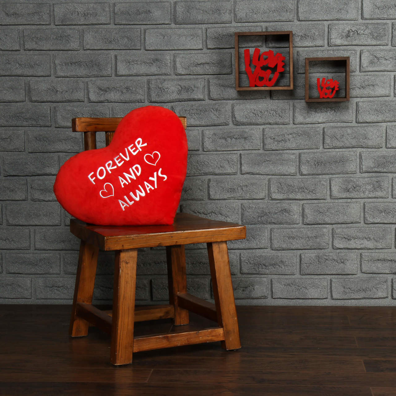 """Personalized Red Pillow Heart with """"Forever and Always"""" Message"""