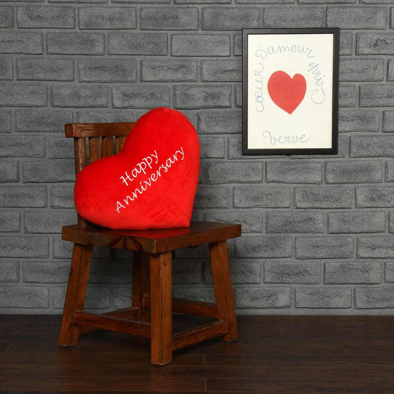 18in Plush Red Heart Pillow Pair Romantic Messages Happy Anniversary