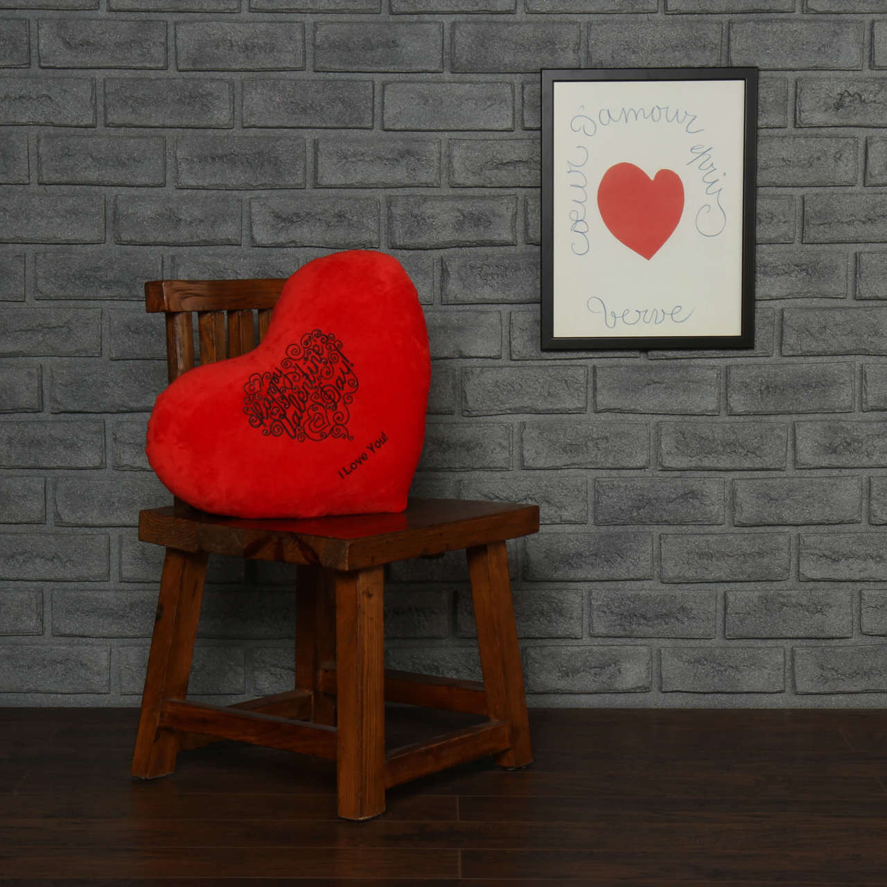 Red Heart Pillow Happy Valentine's Day I Love You
