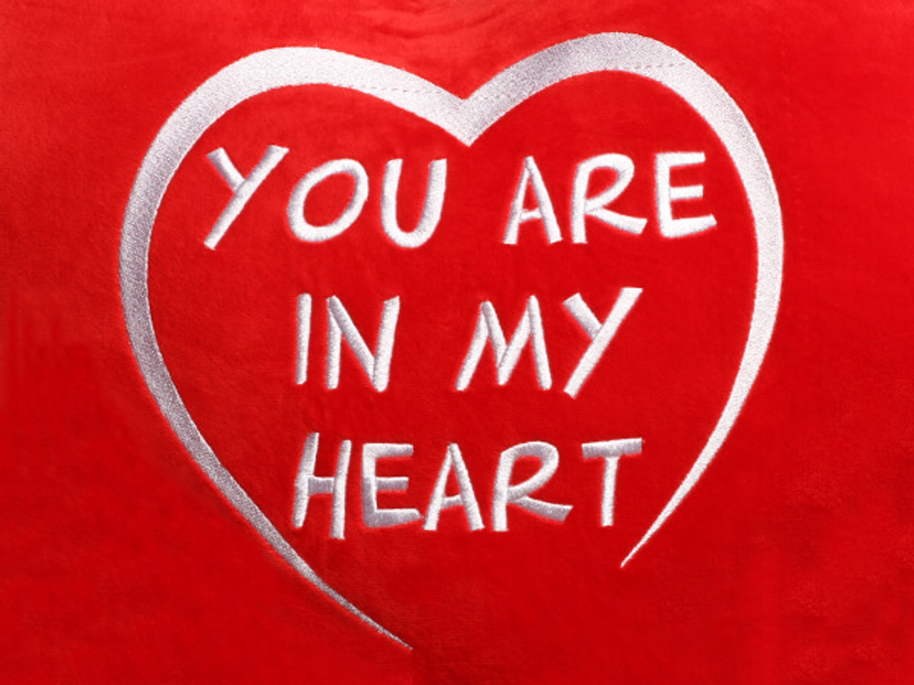 Red Heart Pillow You Are In My Heart Text