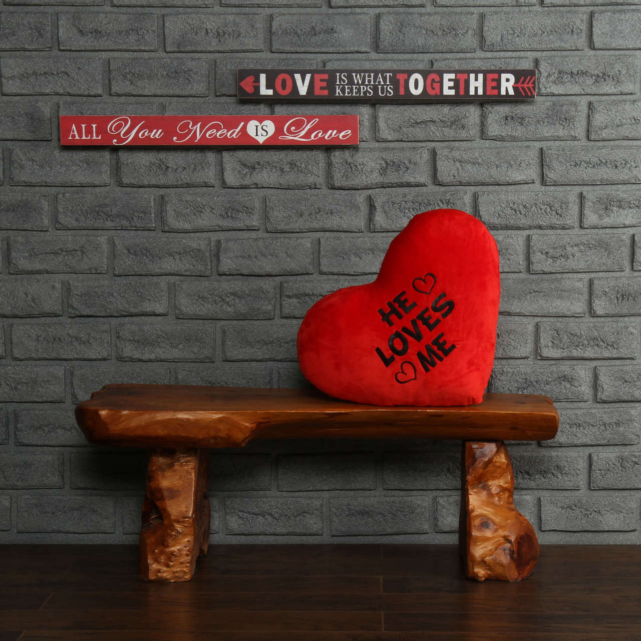 18in He Loves Me Red Greeting Heart Pillow
