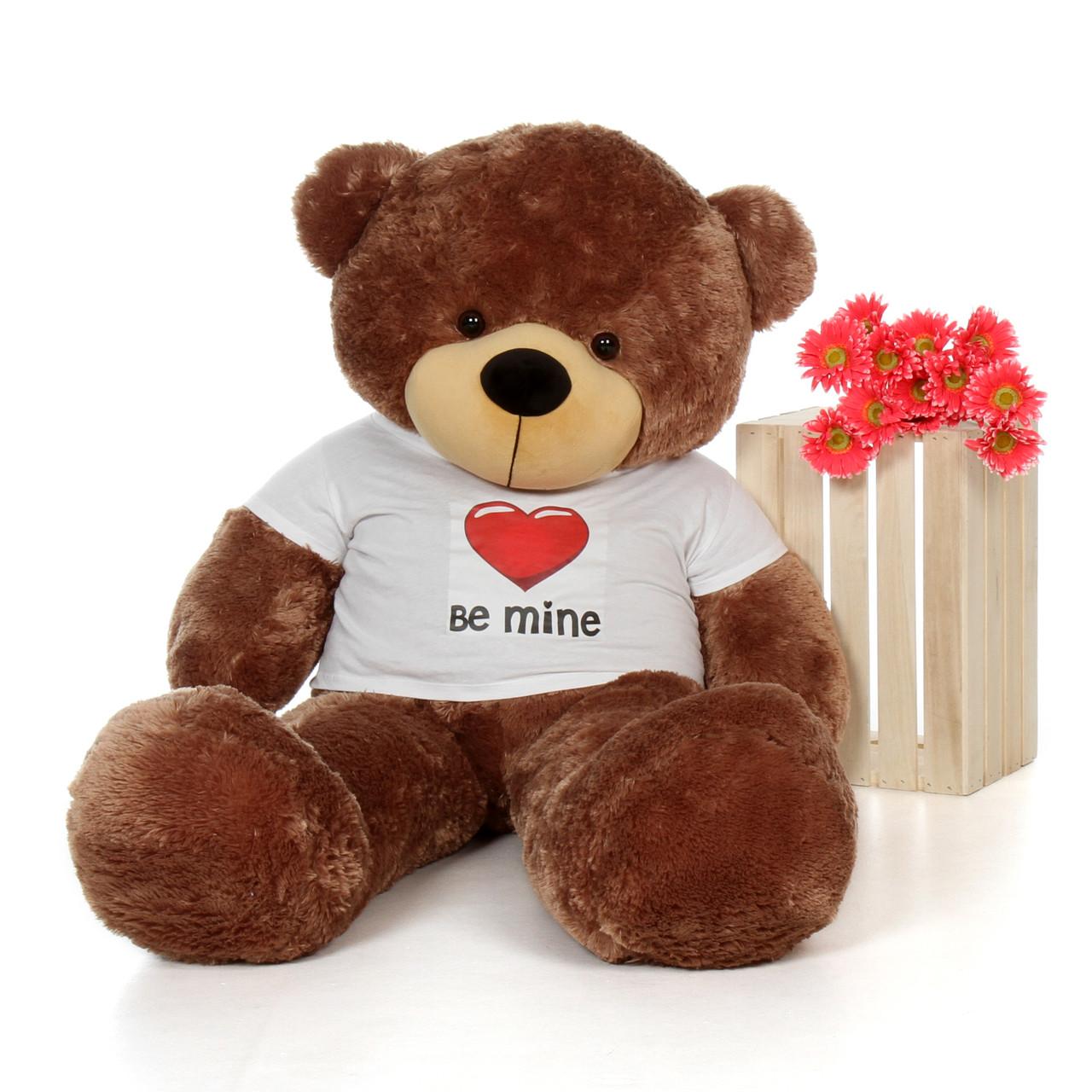 60in Mocha Brown Sunny Cuddles Giant Teddy Bear in Be Mine T-Shirt
