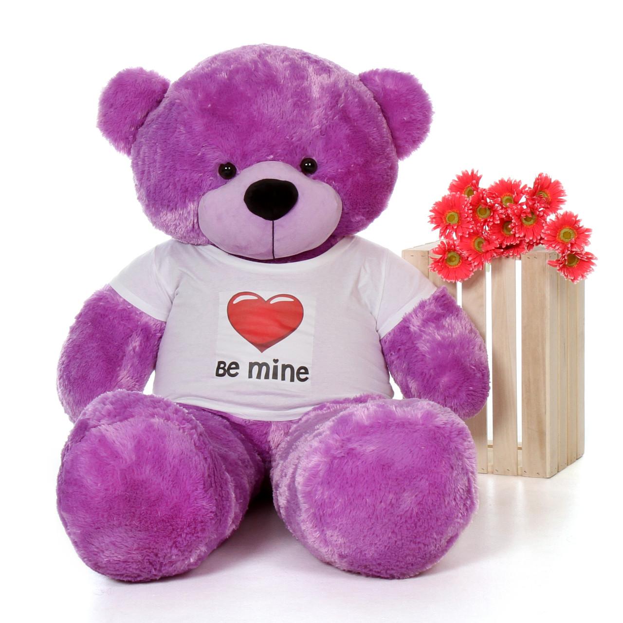 5ft DeeDee Cuddles Purple Giant Teddy Bear in Be Mine T-Shirt