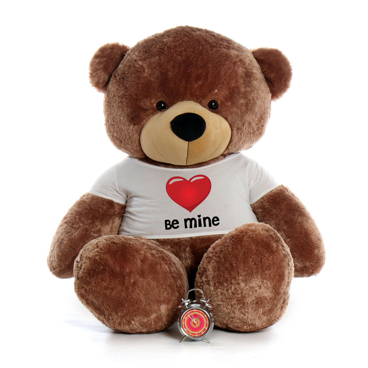 "72"" Mocha Brown Sunny Cuddles by Giant Teddy in Be Mine Valentine's Day T-Shirt"