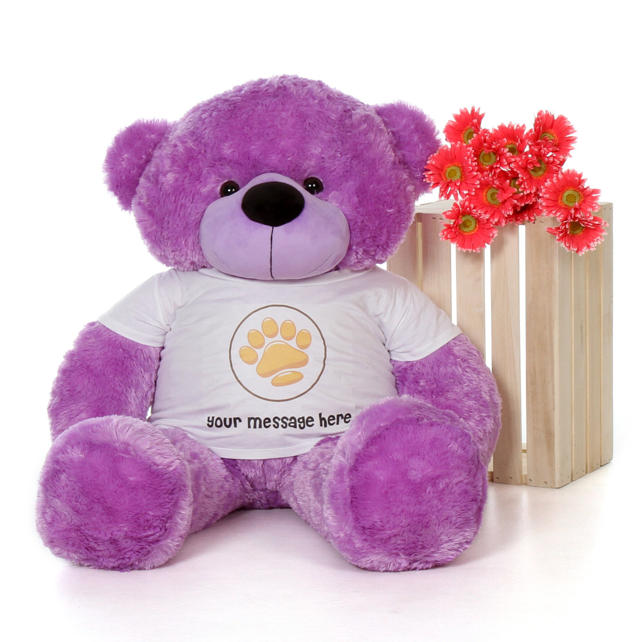 48in DeeDee Cuddles Purple Giant Teddy Bear in Valentine's Day Paw Stamp T-Shirt