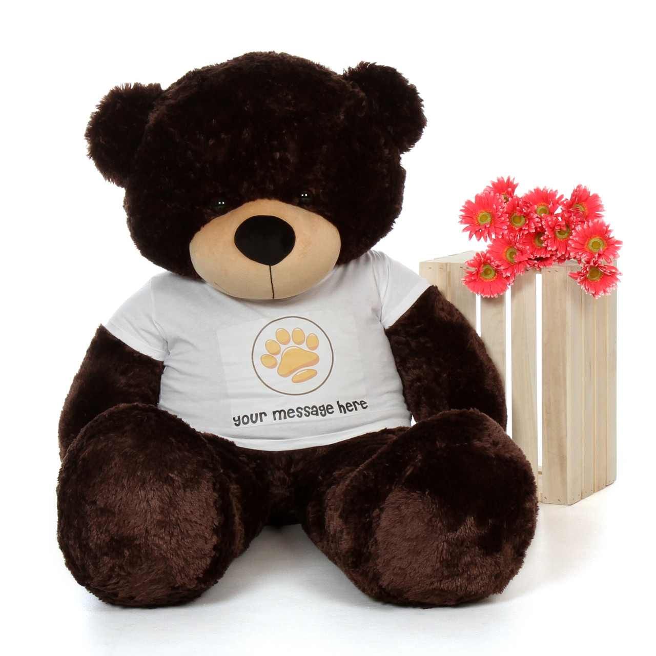 5ft Brownie Cuddles Chocolate Giant Teddy Bear in Paw Stamp Valentine's T-Shirt