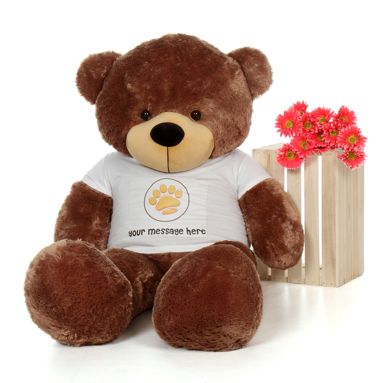 5ft Sunny Cuddles Mocha Giant Teddy Bear in Paw Stamp Valentine's T-Shirt