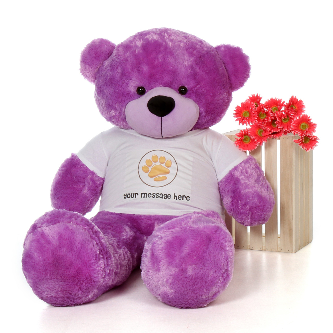 5ft DeeDee Cuddles Purple Giant Teddy Bear in Paw Stamp Valentine's T-Shirt