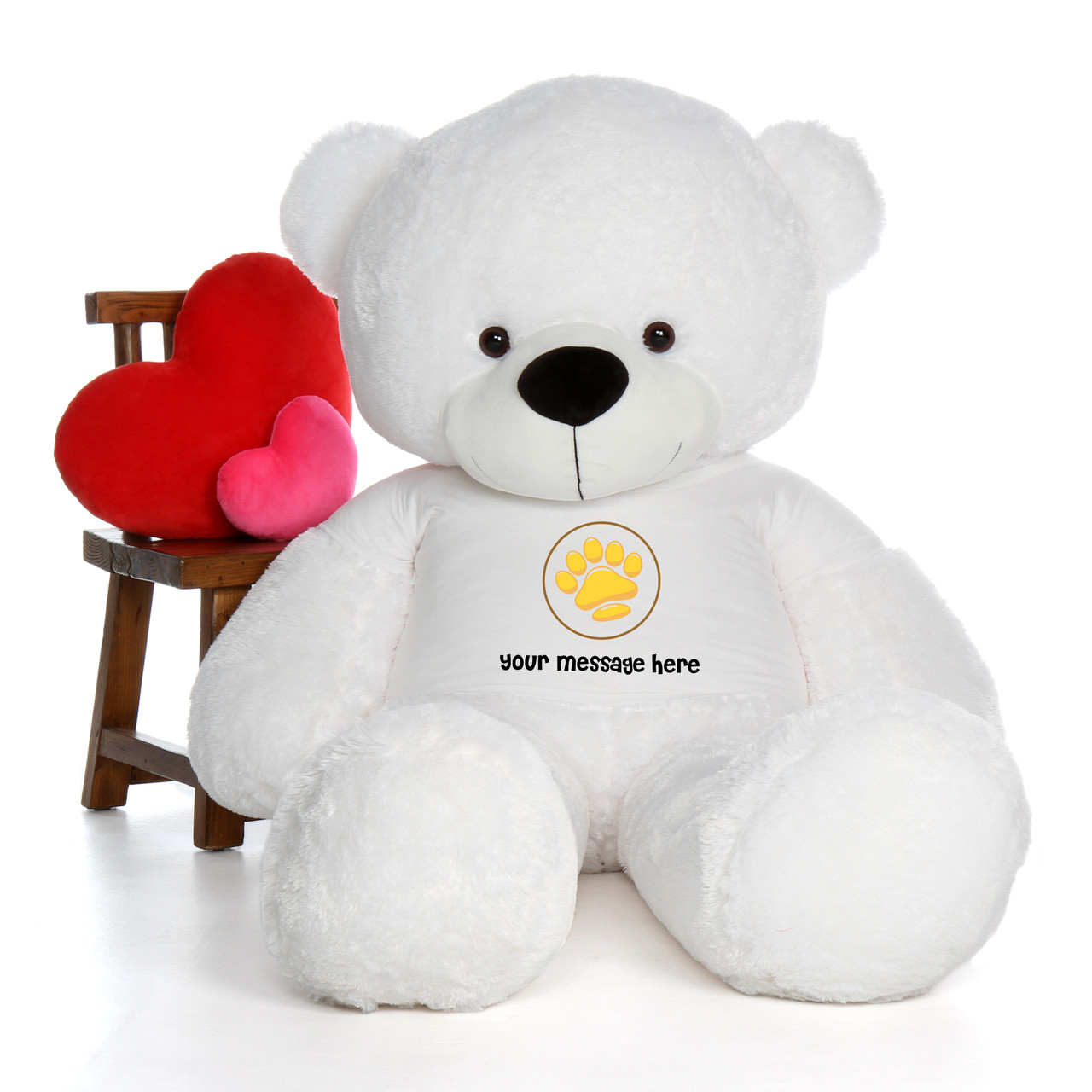 6ft Coco Cuddles White Huge Teddy Bear in Valentine's Day Paw Stamp T-Shirt