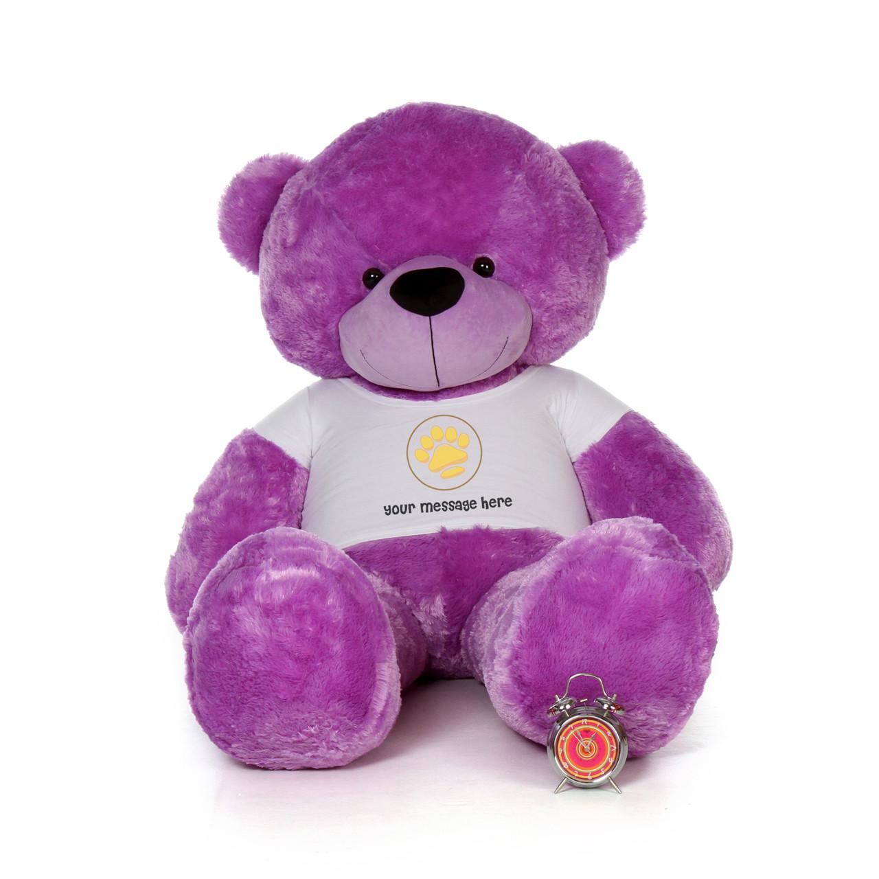 72in DeeDee Cuddles Purple Giant Teddy in Valentine's Day Paw Stamp T-Shirt