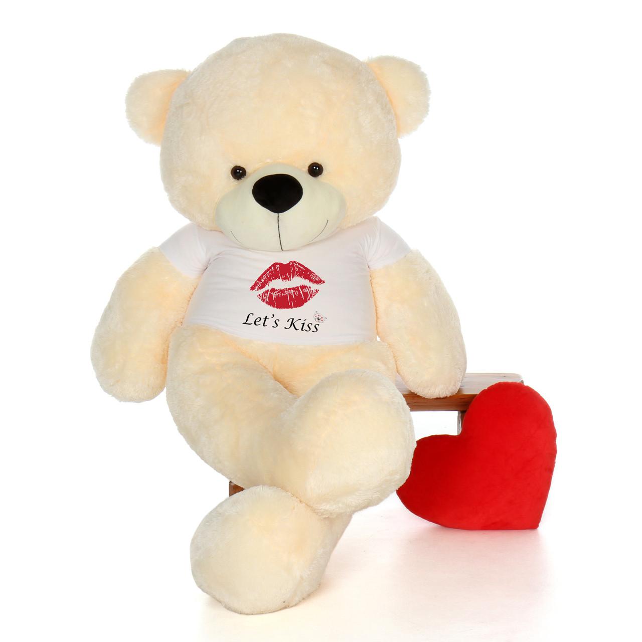 6ft Cozy Cuddles Vanilla Giant Teddy Bear in Let's Kiss T-Shirt