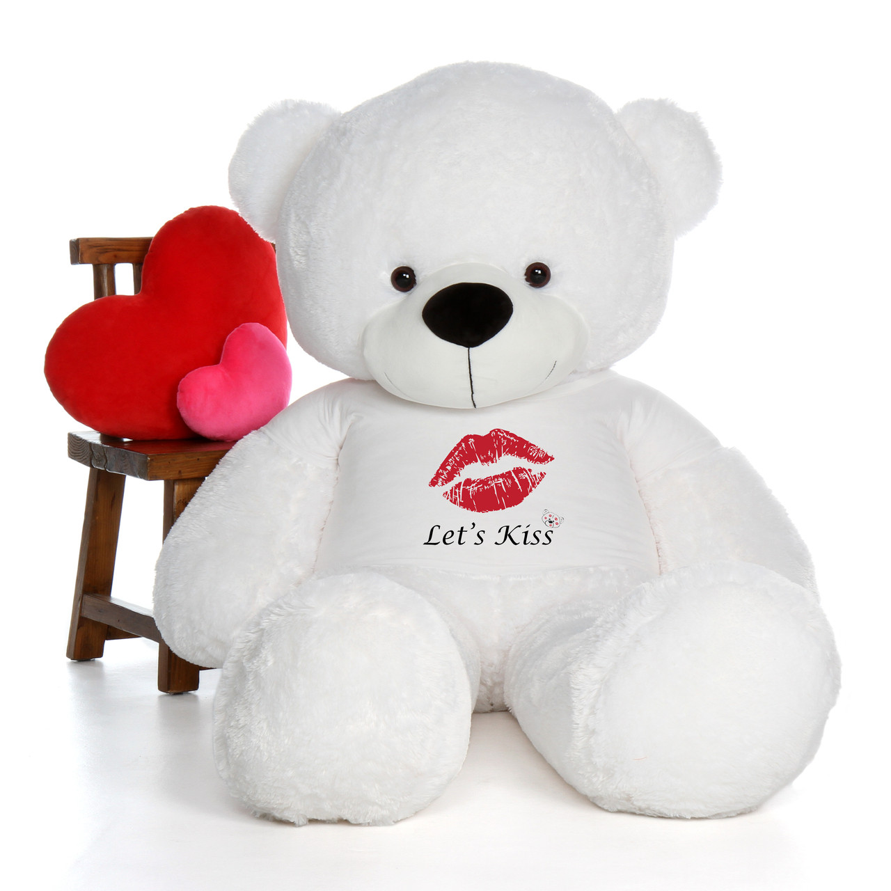 6 Foot Life Size Valentine S Day Teddy Bear In Let S Kiss Shirt