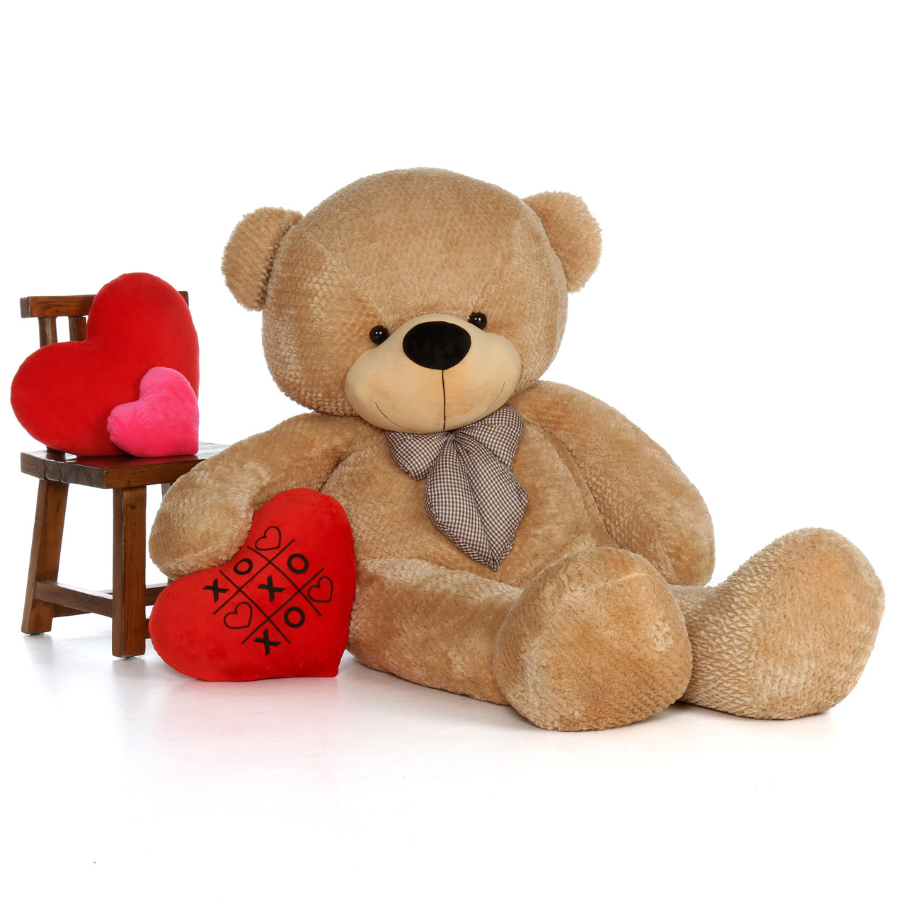 6ft Shaggy Cuddles Amber Brown Teddy  with XOXO heart pillow