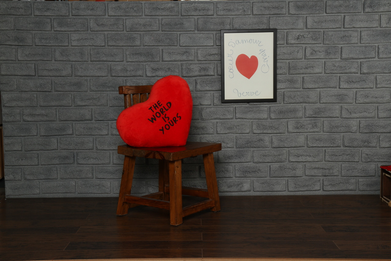 Heart Pillow black embroidery 'The World Is Yours'