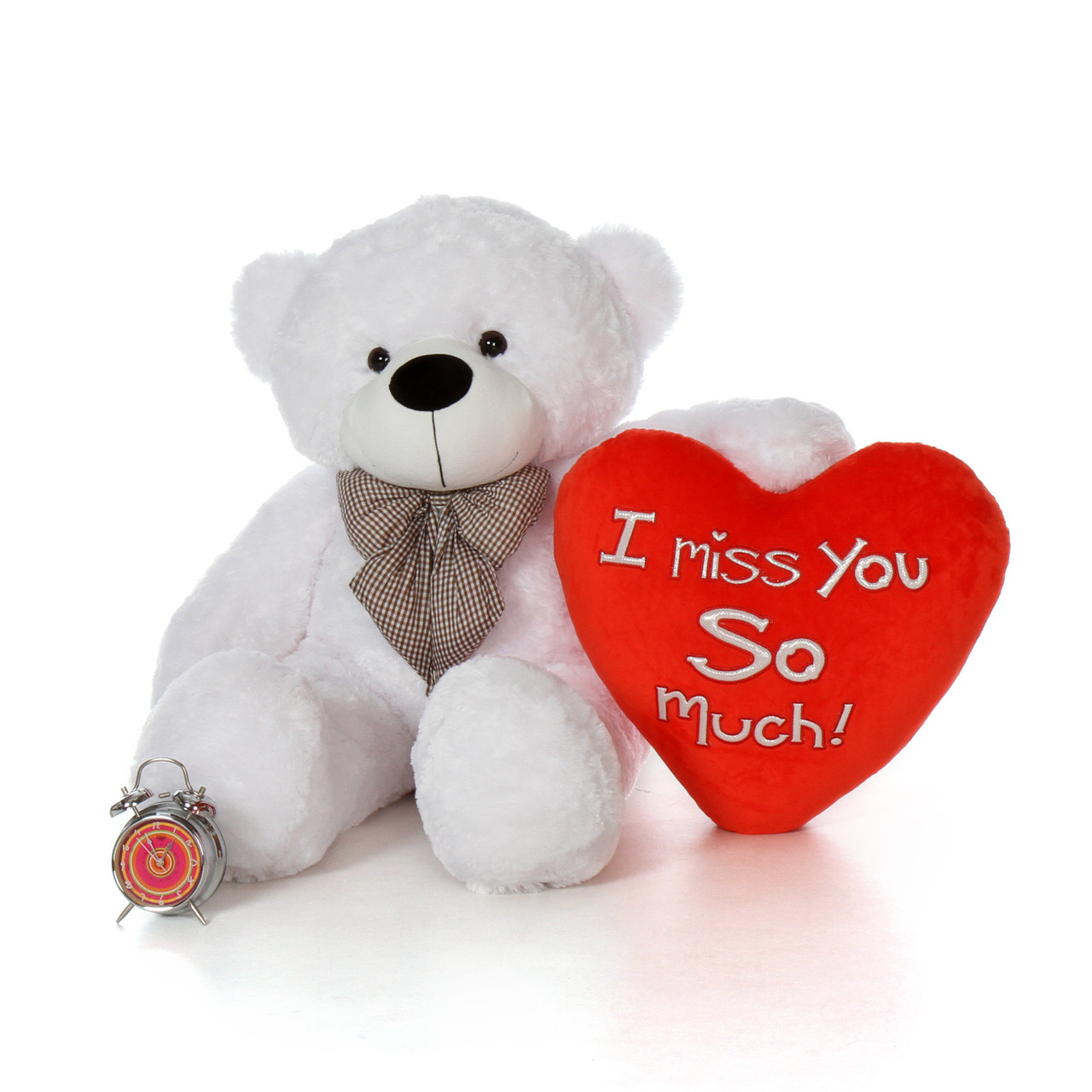 48in big life size valentines day teddy bear white coco cuddles with beautiful i miss you so much red heart pillow