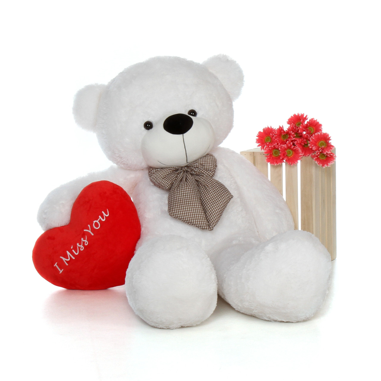 5 Foot Huge Valentine S Day White Teddy Bear Beautiful I Miss You