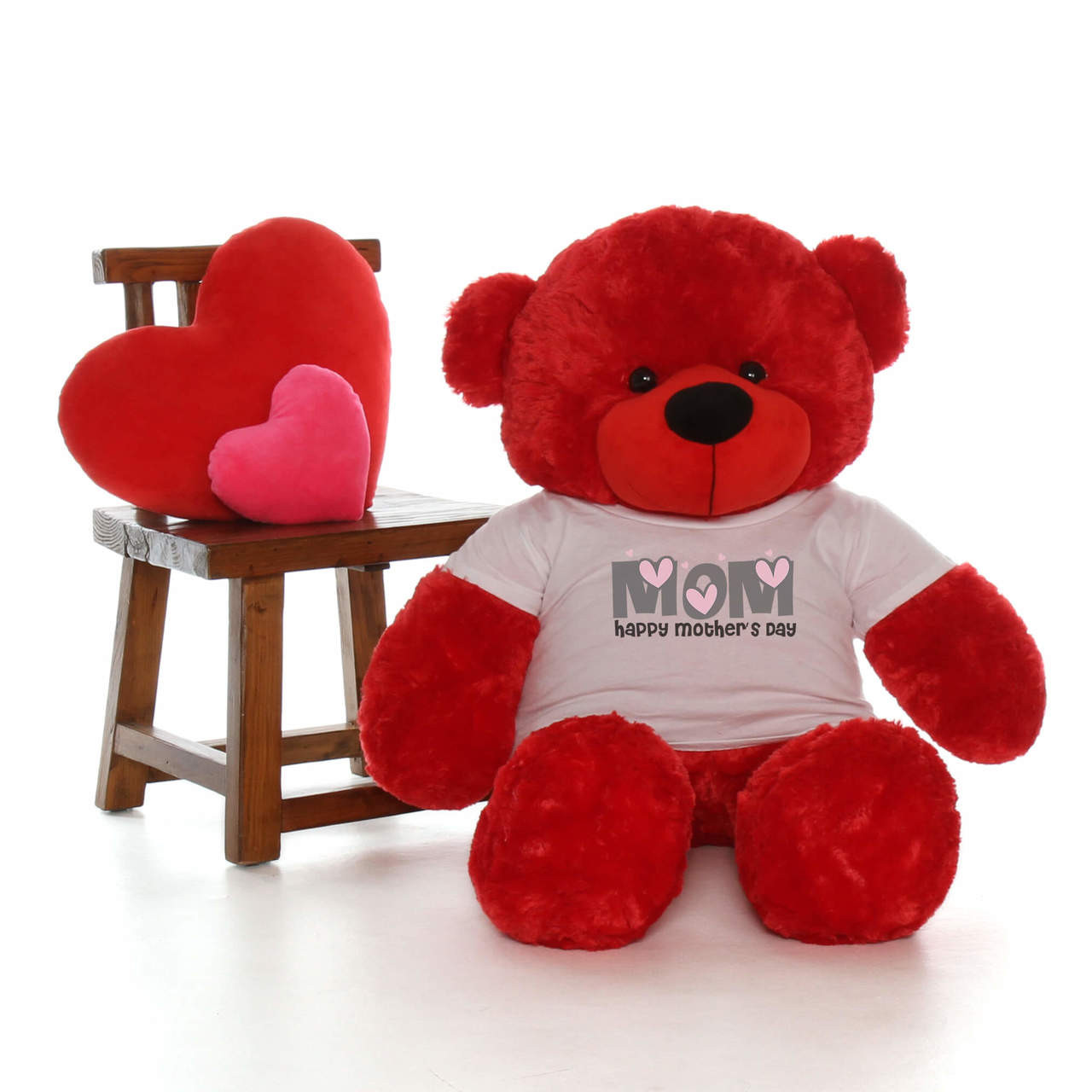 48in Red Bitsy Cuddles Happy Mother's Day Mom Teddy Bear