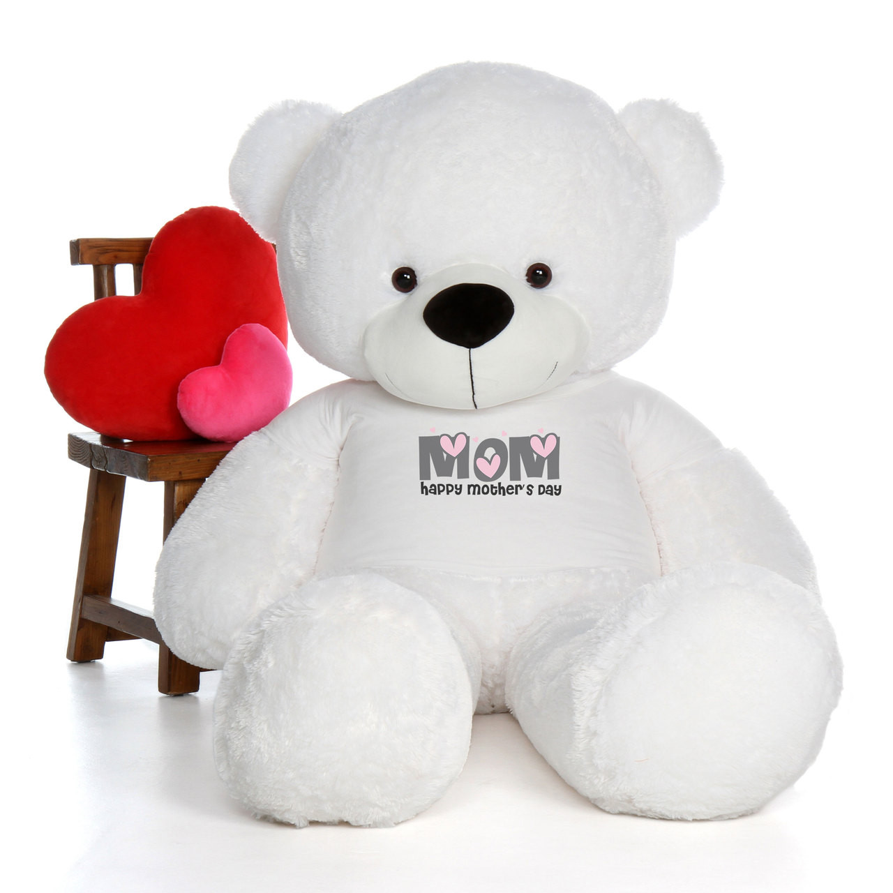 72in White Coco Cuddles Happy Mother's Day Mom Teddy Bear