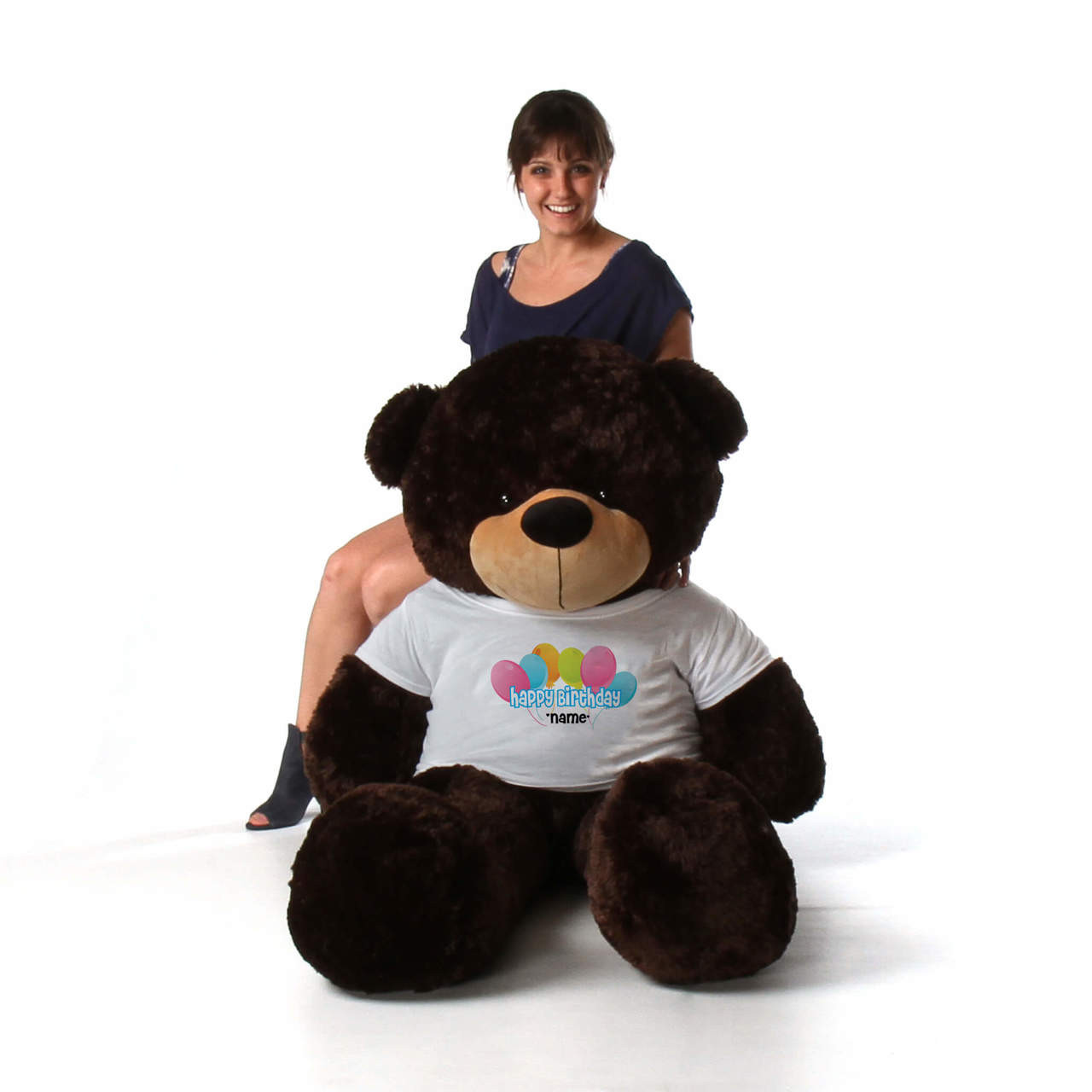 60in Chocolate Brownie Cuddles Happy Birthday Personalized Teddy Bear
