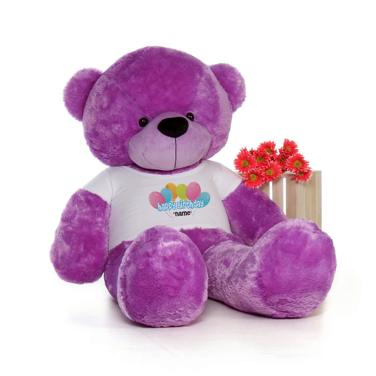 72in Purple DeeDee Cuddles Happy Birthday Personalized Teddy Bear