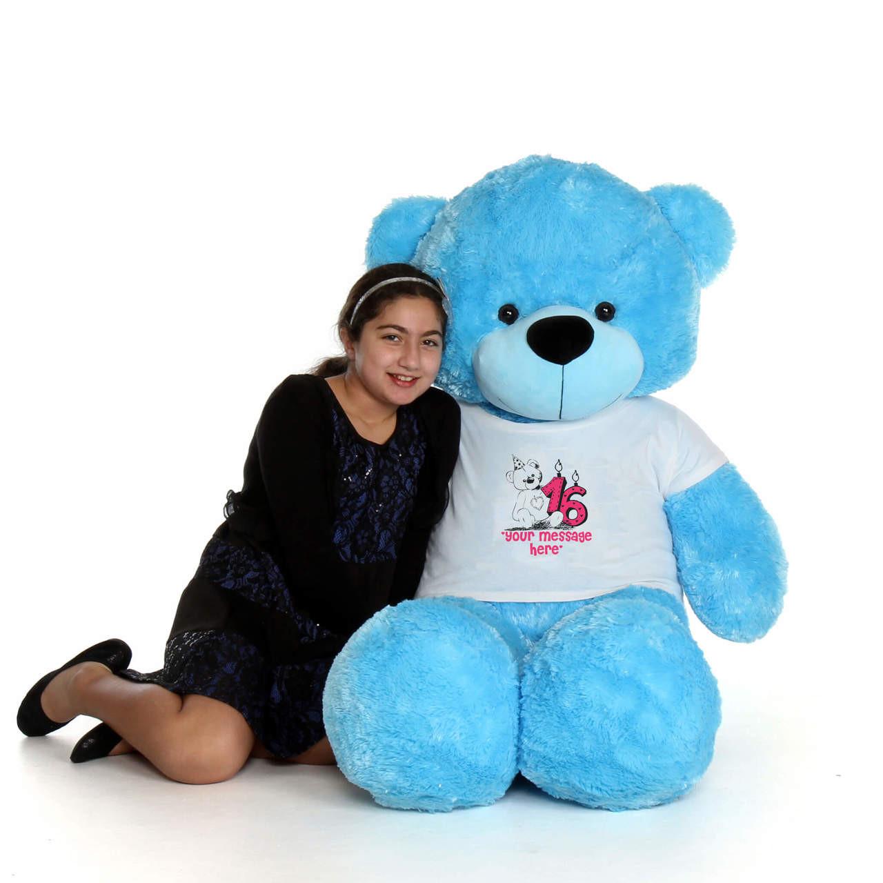60in Blue Happy Cuddles Make a Wish Personalized Birthday Teddy Bear