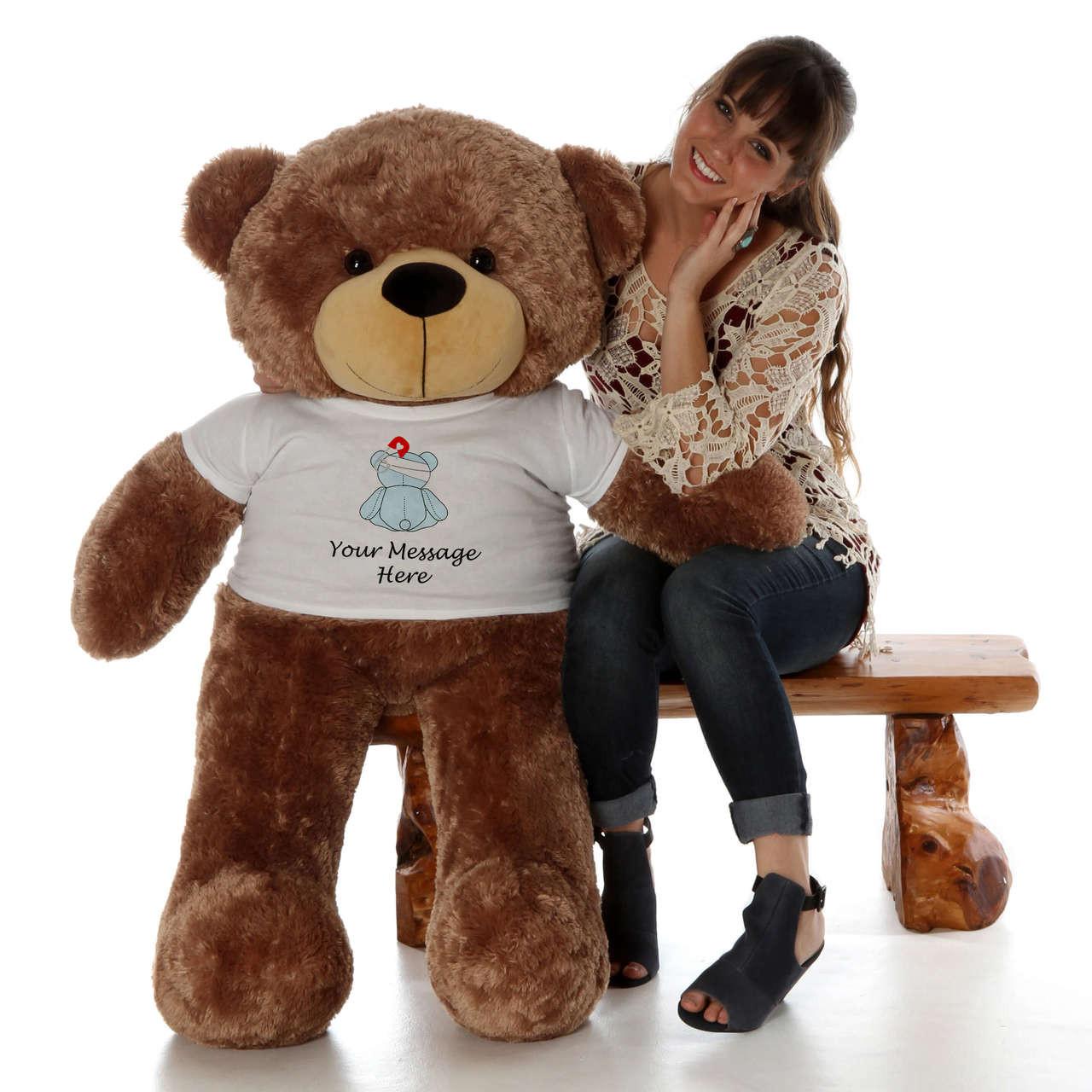 48in Mocha Sunny Cuddles in personalized blue teddy bear in bandage shirt