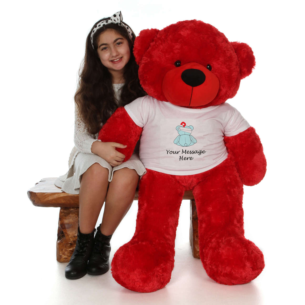 48in Red Bitsy Cuddles in personalized blue teddy bear in bandage shirt