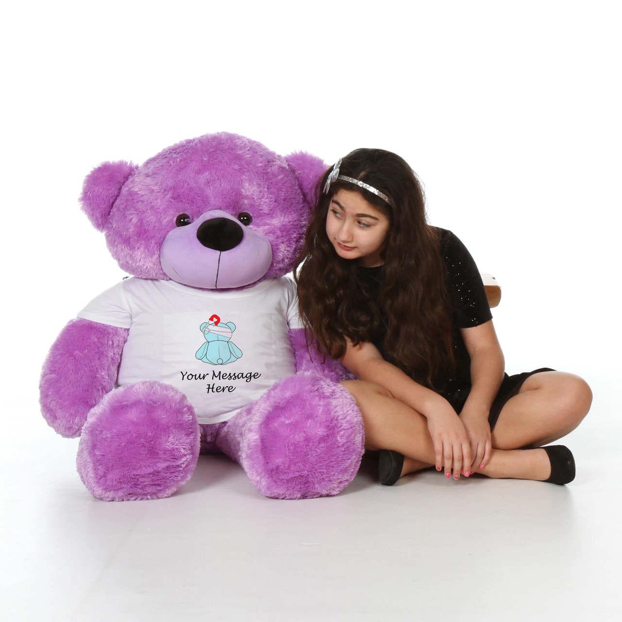 48in Purple DeeDee Cuddles in personalized blue teddy bear in bandage shirt