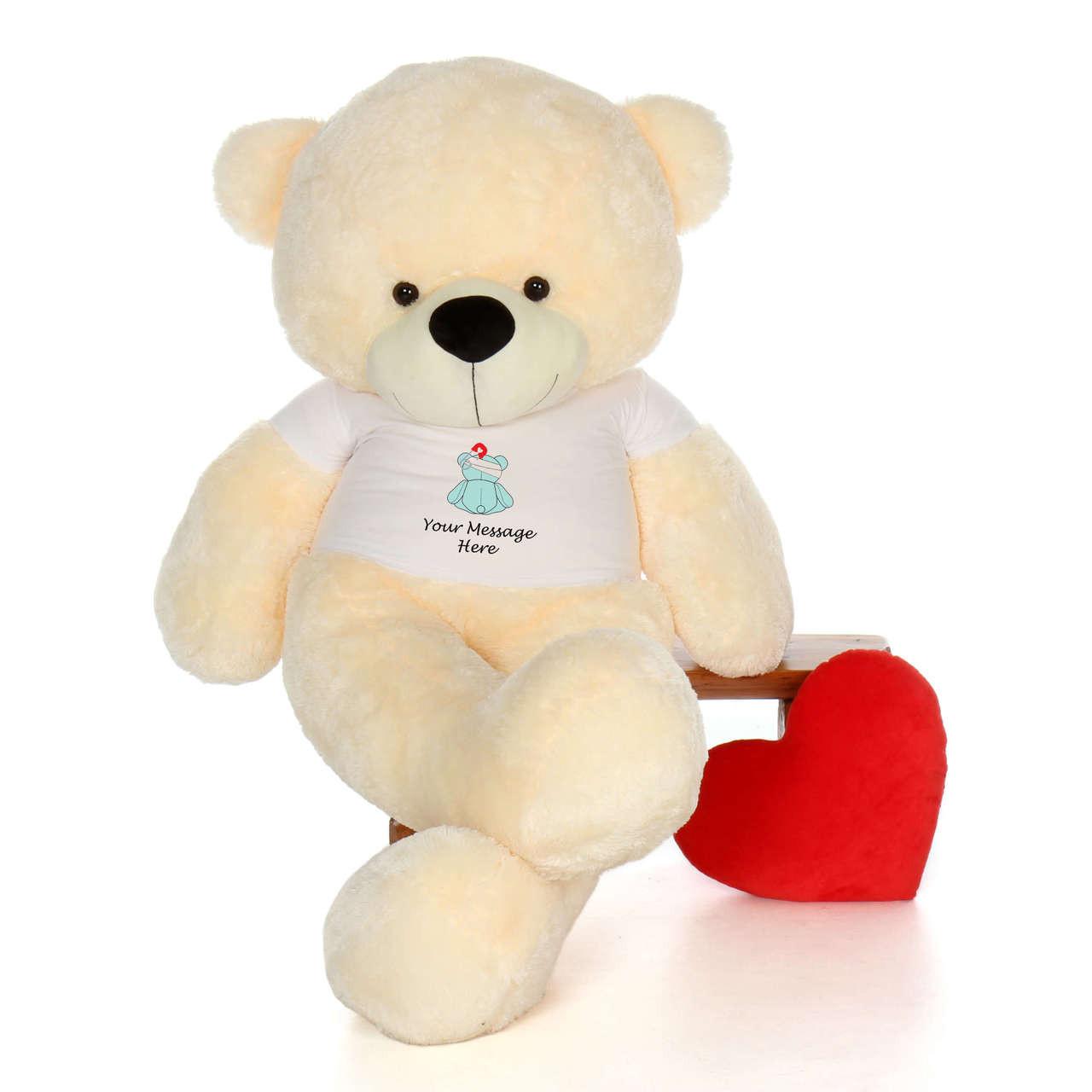72in Vanilla Cozy Cuddles in personalized blue teddy bear in bandage shirt