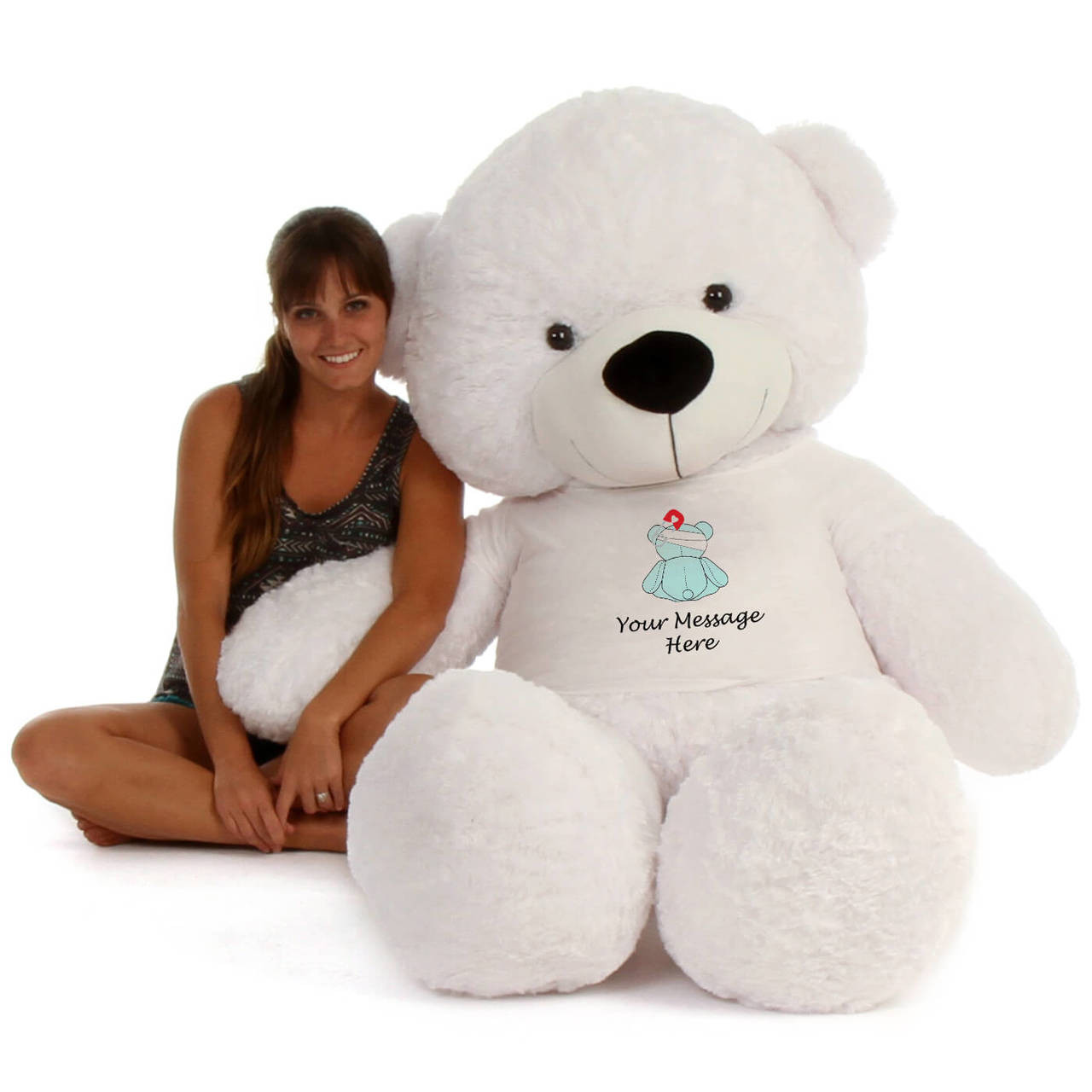 72in White Coco Cuddles in personalized blue teddy bear in bandage shirt