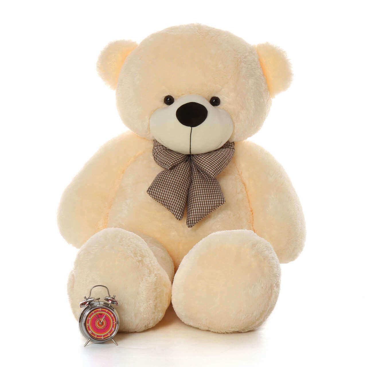 Cozy Cuddles Soft and Huggable Jumbo Cream Teddy Bear 60in One of the Biggest Teddy Bears!