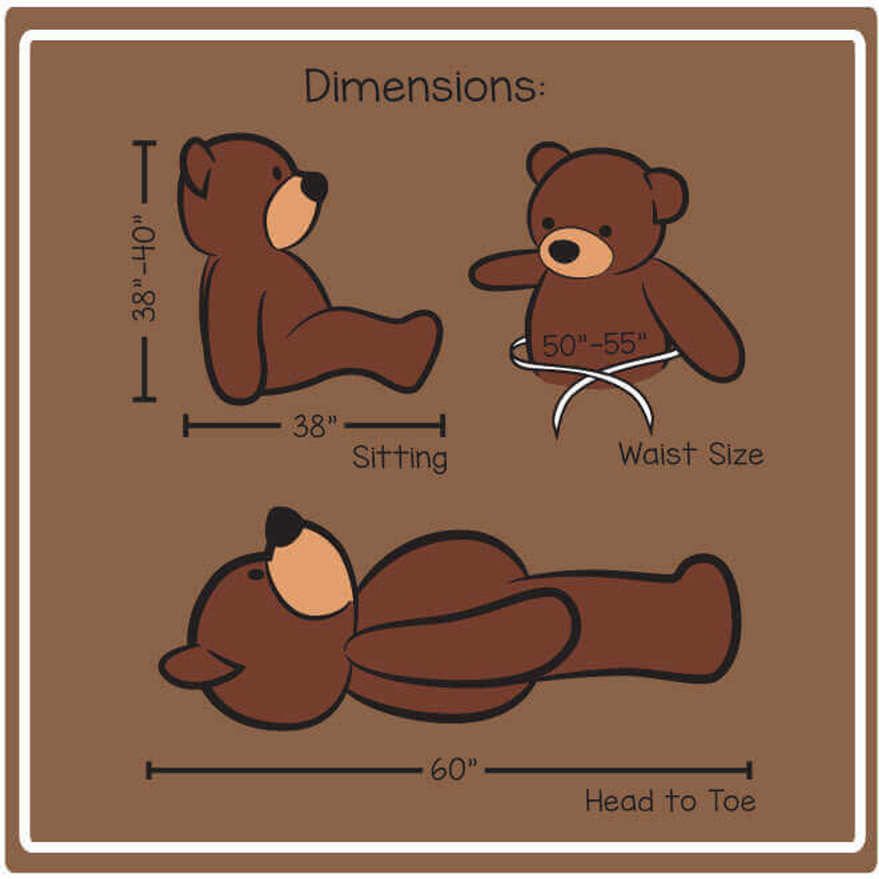 5ft Cozy Cuddles Dimensions