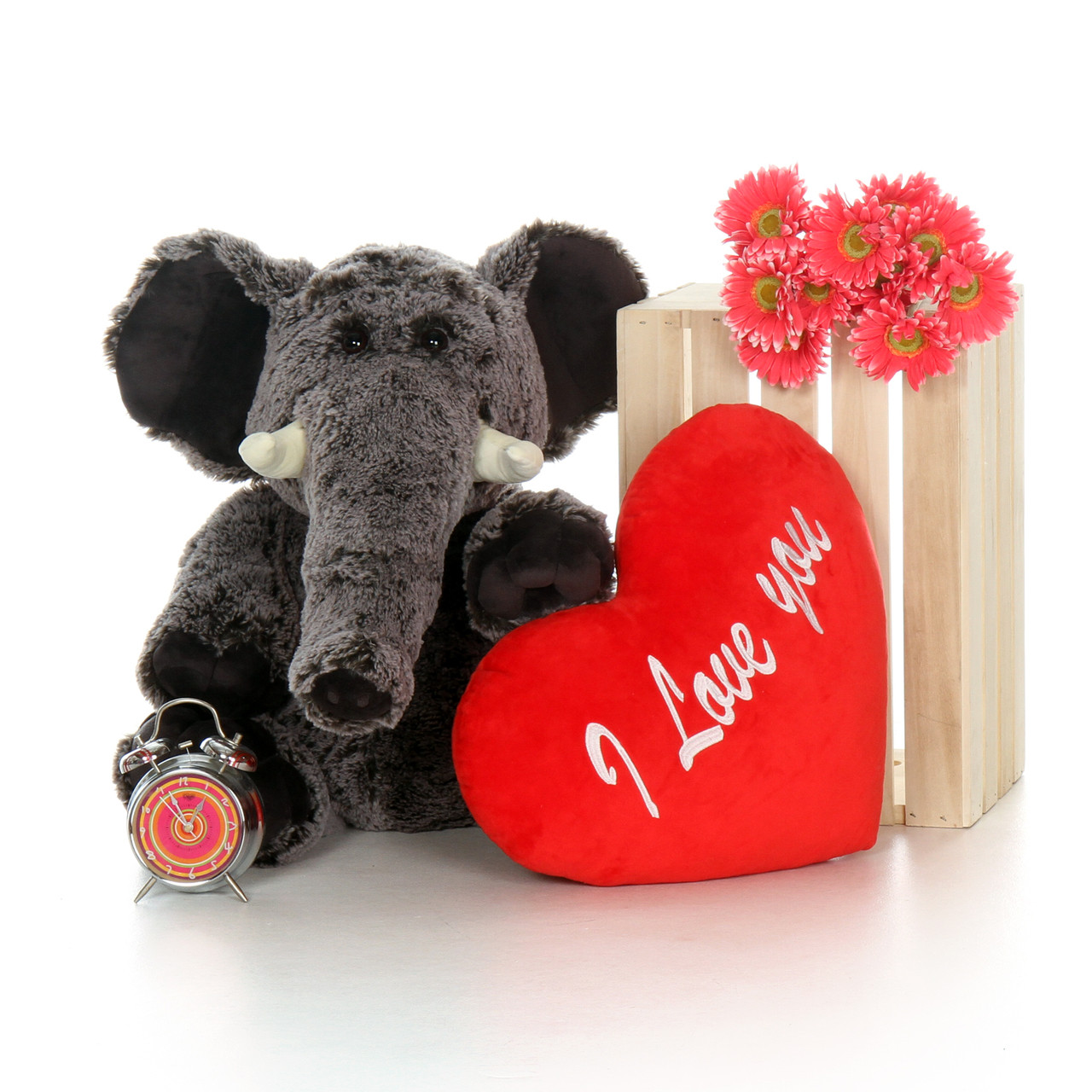 """2.5ft Huge Lucy Elephant with XL Red """"I Love You"""" Heart Pillow"""
