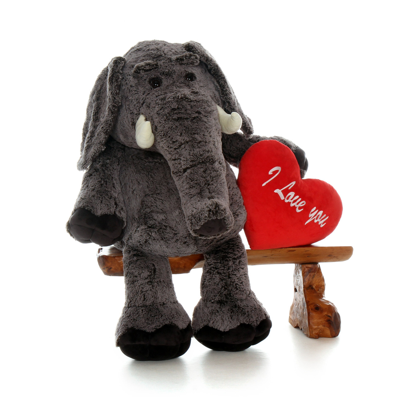 "48in Stampy Elephant with XL Red ""I love you"" Heart Pillow"