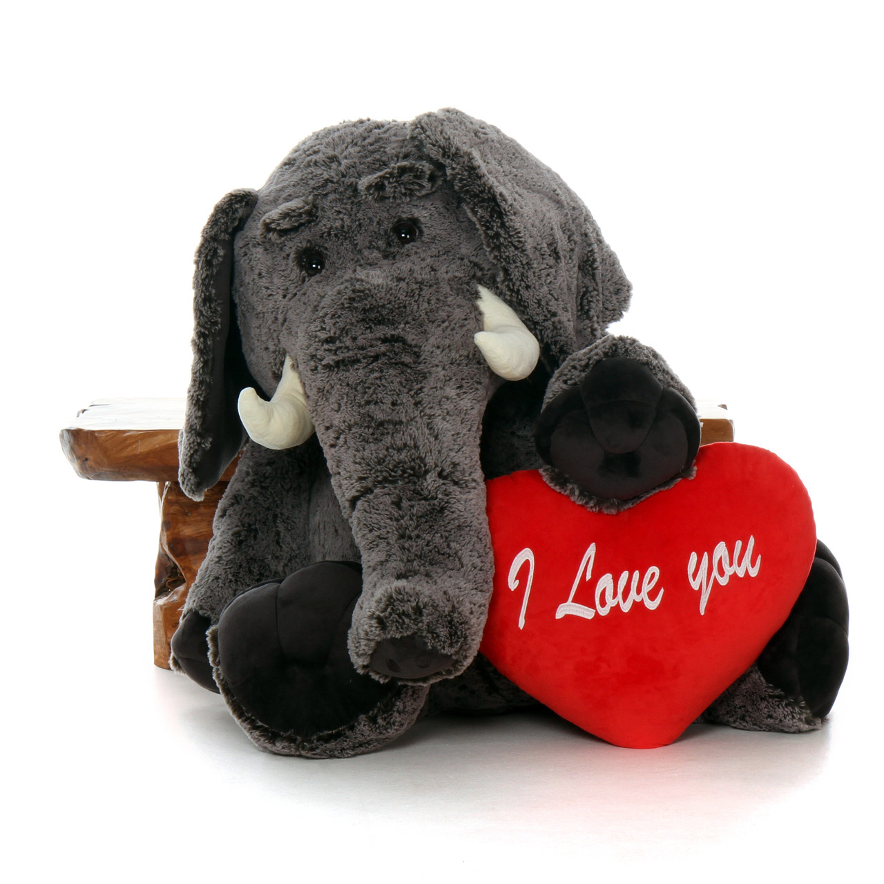 4ft Enormous Stuffed Elephant with Red Heart Pillow from Giant Teddy