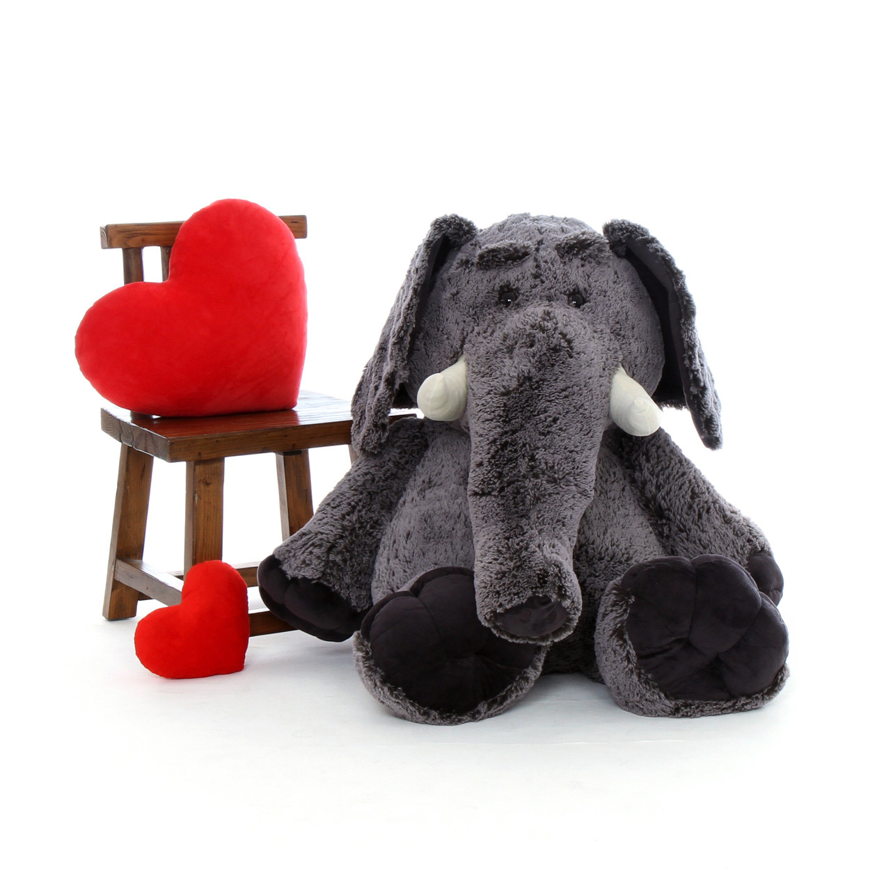 4ft Enormous Stuffed Elephant with Red Heart Valentine's Day Pillow