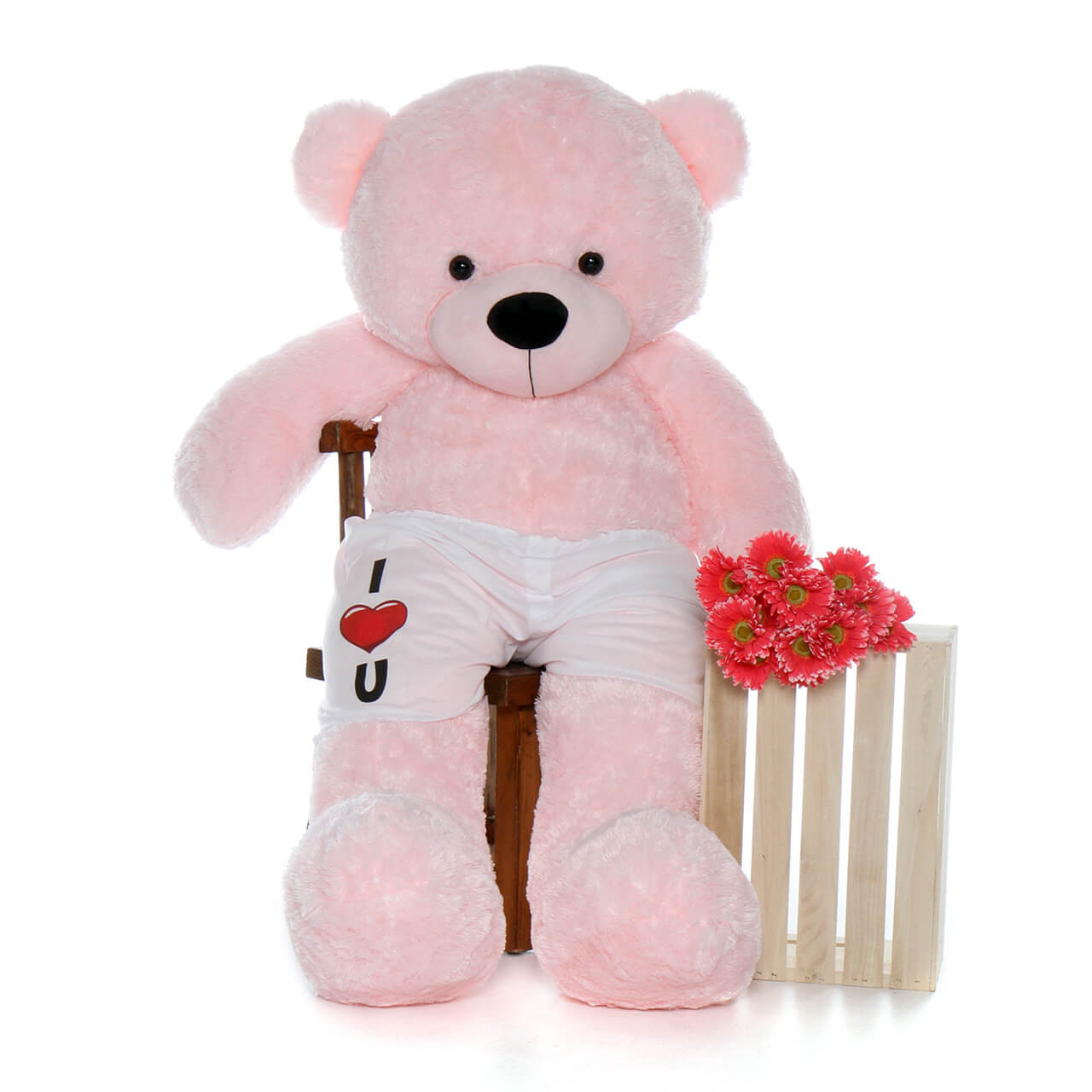 """60in Life Size Teddy Bear in """"I love you"""" boxer shorts – pink fur Lady Cuddles"""