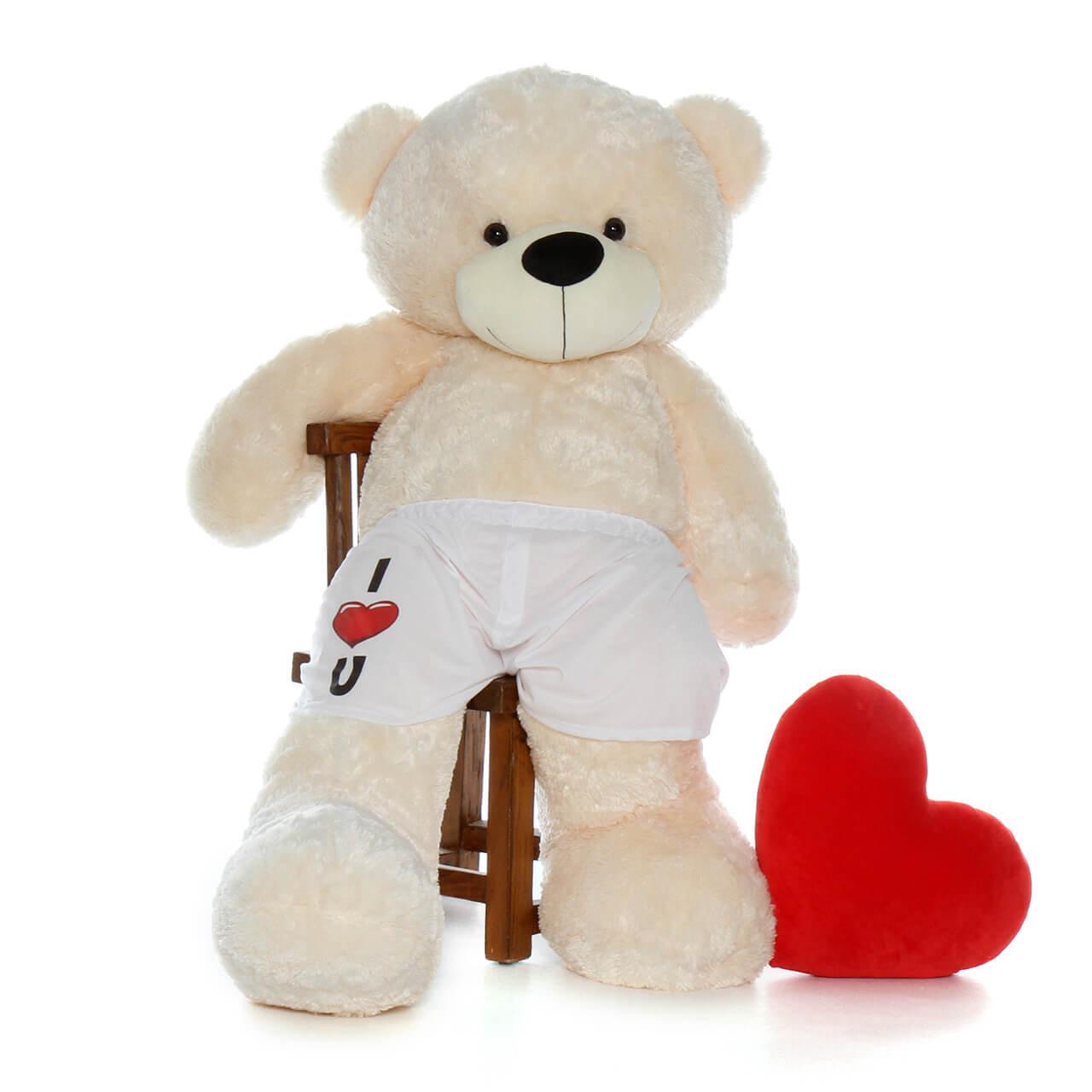 "60in Life Size Teddy Bear in ""I love you"" boxer shorts – vanilla fur Cozy Cuddles"