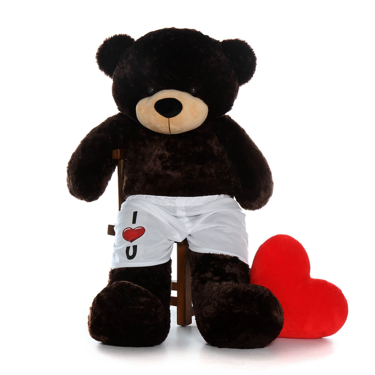 """5ft Life Size Teddy Bear in """"I love you"""" boxer shorts – chocolate fur Brownie Cuddles"""