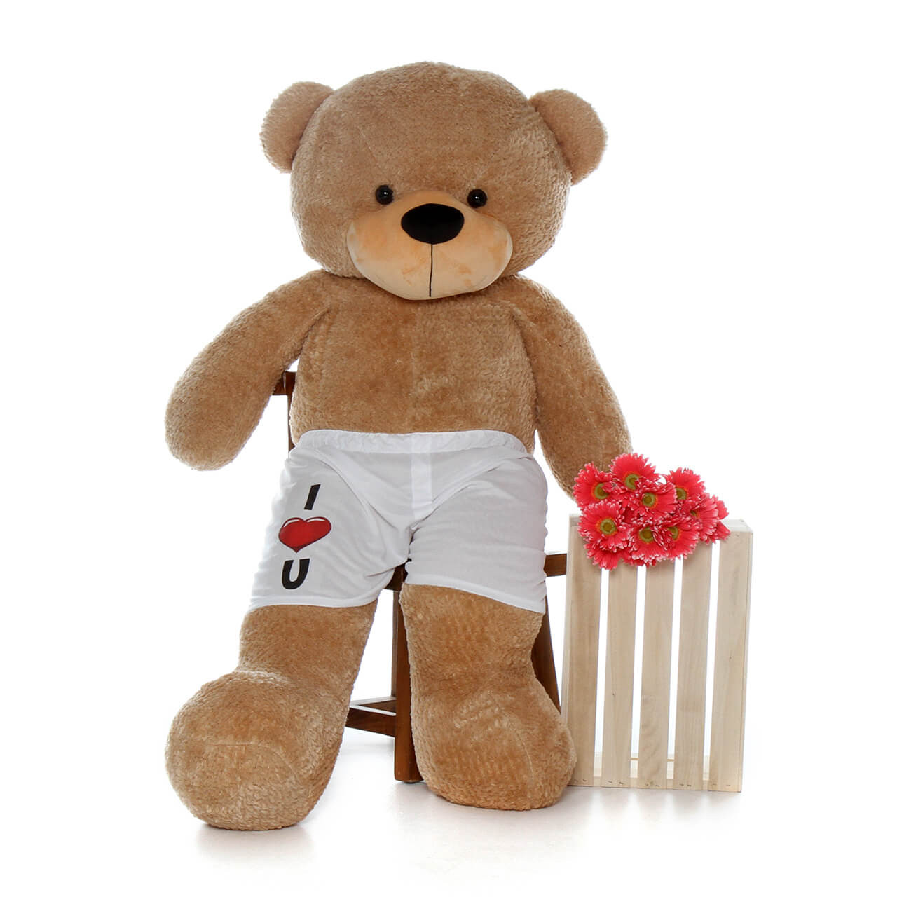 Amber Brown Giant Teddy Brand Huge Teddy Bear with I Love You Boxers