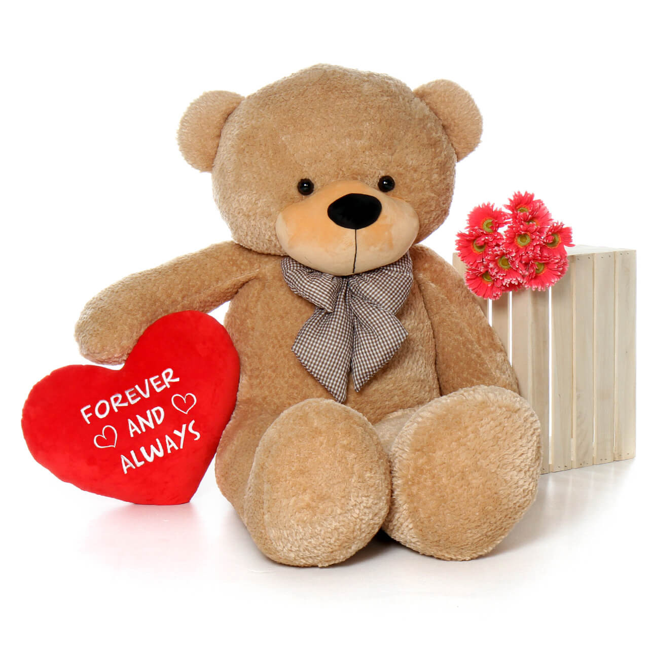 Forever and Always Red Pillow Heart with Teddy Bear