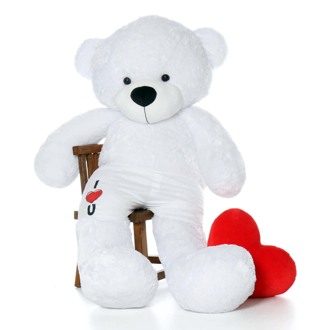 72in Giant Teddy White Coco Cuddles in I Heart u Boxers