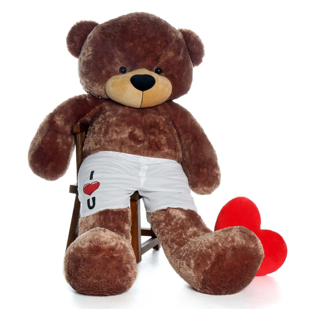6ft Sunny Cuddles Giant Mocha Teddy Bear in I Heart U Boxers