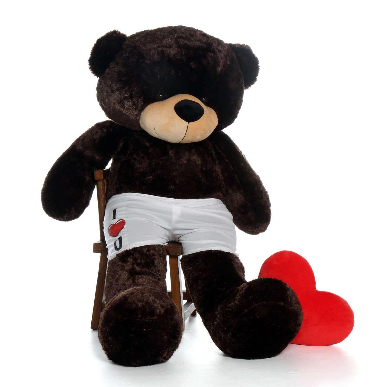 6ft Chocolate Brown Giant Teddy Bear in I Heart U Boxers