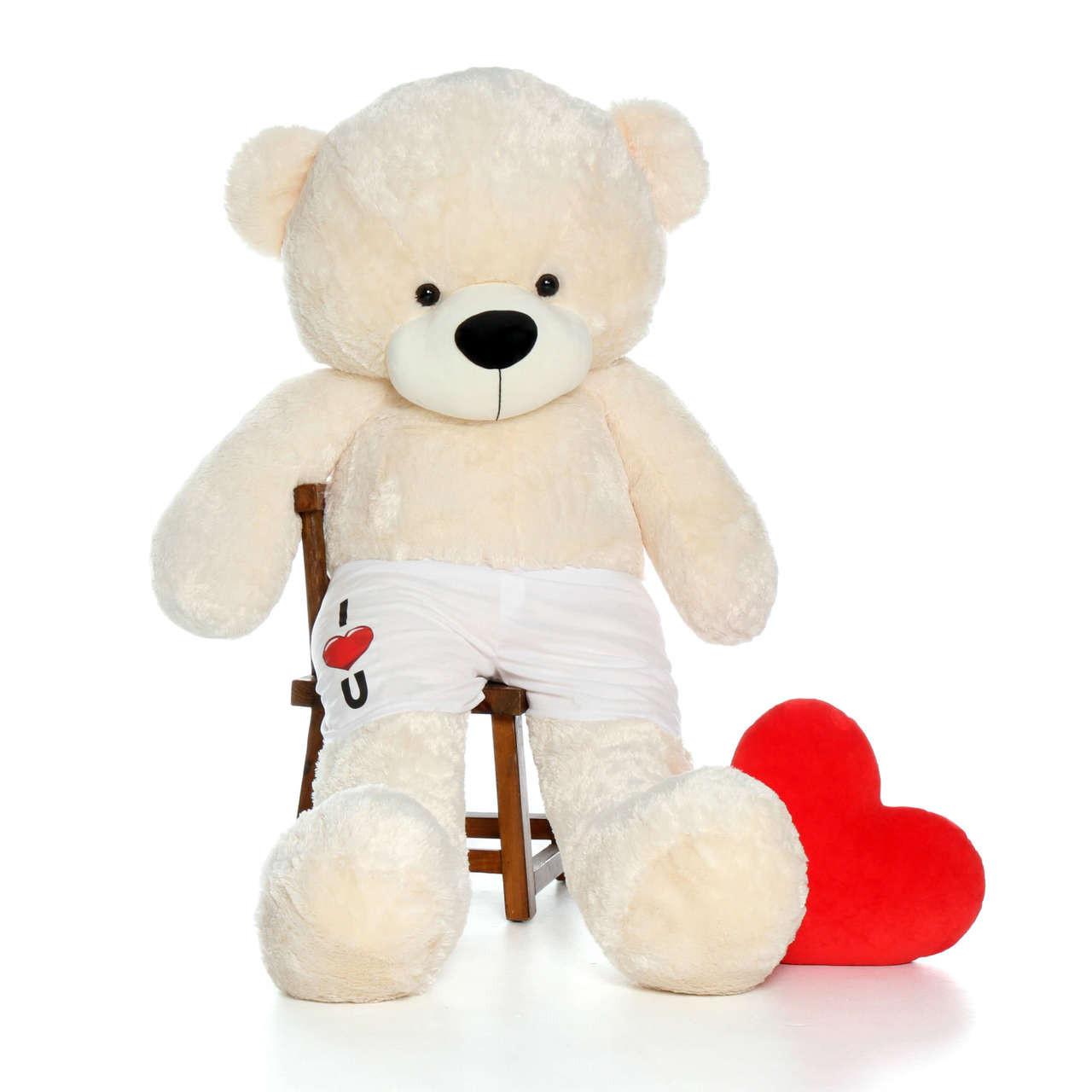 6 Foot Cream Giant Teddy Bear with custom I Love You Boxers