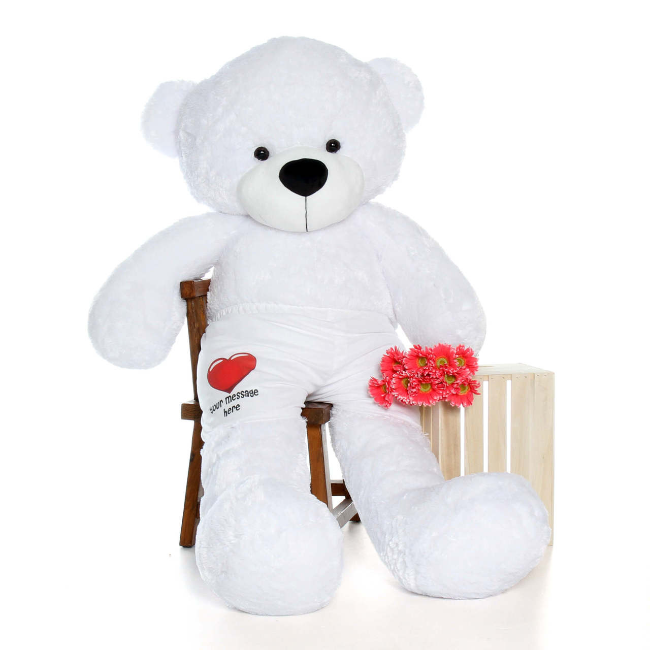 72in White Coco Cuddles Giant Teddy Bear in Red Heart Your Message Here Boxers